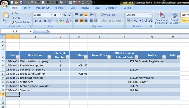 How to Add Formulas to a Table in Excel 2007 - Expenses Part 3 ...